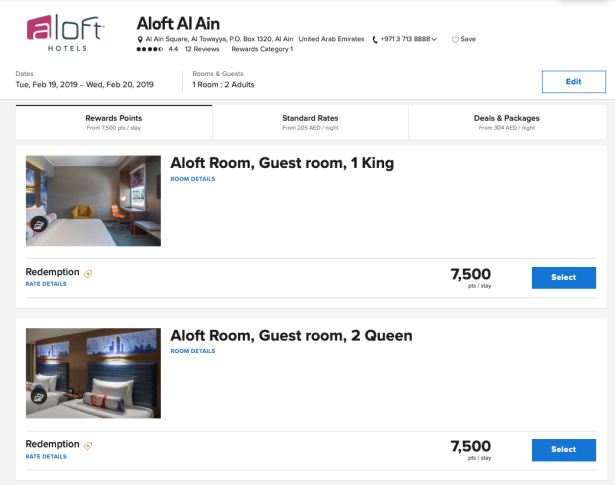 aloft al ain uae marriott bonvoy points rewards