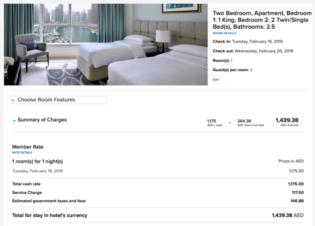 dubai marriott harbour hotels suites price