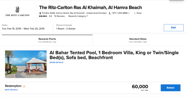 ritz carlton ras al khaimah al hamra beach uae marriott bonvoy points